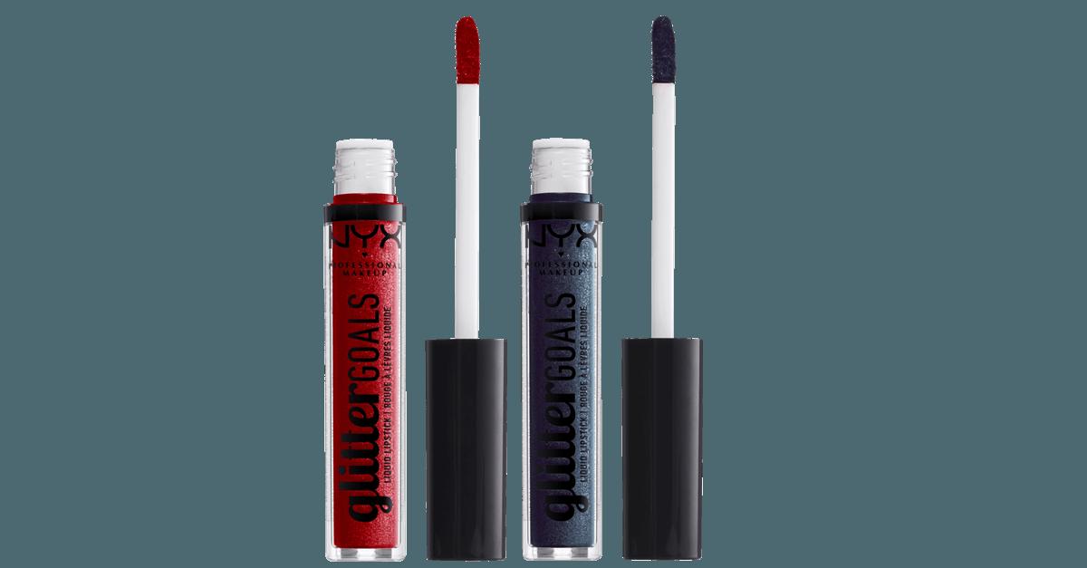 NYX Cosmetics Glitter Goals Liquid Lipstick Cherry Quartz & Oil Spill
