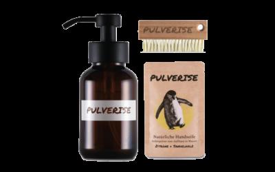 PULVERISE Seifenspender & Nagelbürste, Seifenpulver Aktivkohle & Zeder und Zitrone & Sandelholz